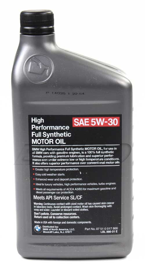 Genuine bmw engine oil 5w30 1 quart high performance for Bmw approved motor oil