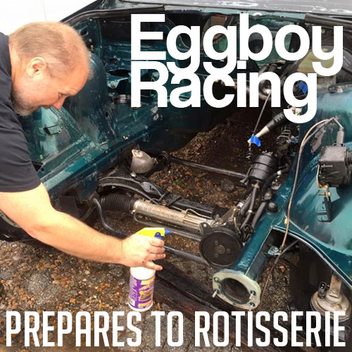 The EggBoy Racing E36 Climbs Onto The Rotisserie