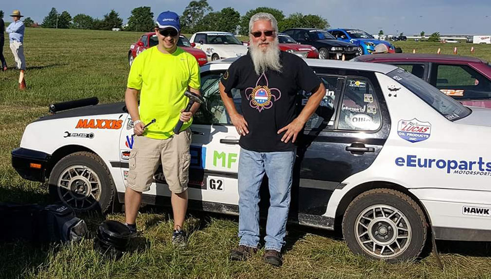 Adam Hardin and Chip Bratcher with all required tools for the Rallycross National Challenge