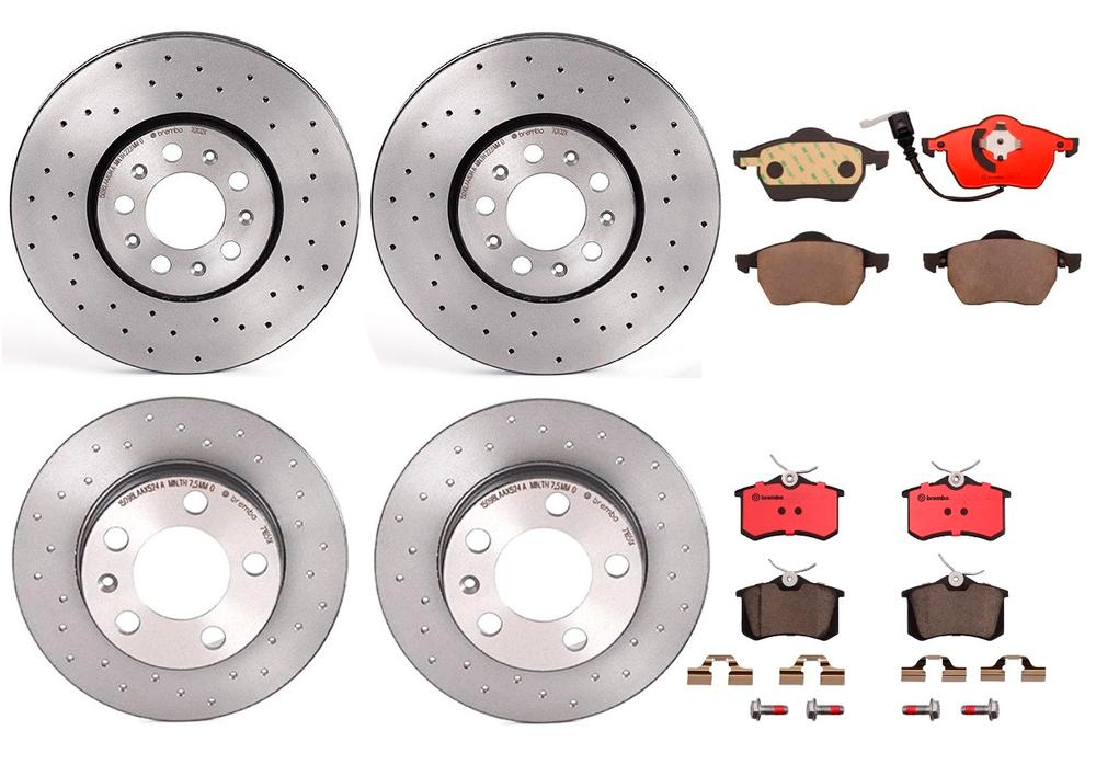 2004 2005 VW Beetle 2.0L Non-Turbo Rotors Ceramic Pads F+R OE Replacement