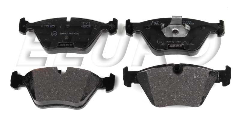 Disc Brake Pad Set - Front - Genuine BMW 34116779652  Front brake pad set with OE semi metallic compound. 1 per car.