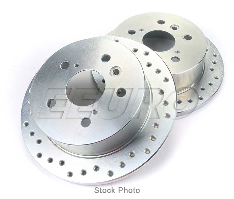 Mercedes Disc Brake Rotor Set - Front (288mm) (Zinc Plated) (Cross-Drilled)  2034210312 - SP Performance C28216P
