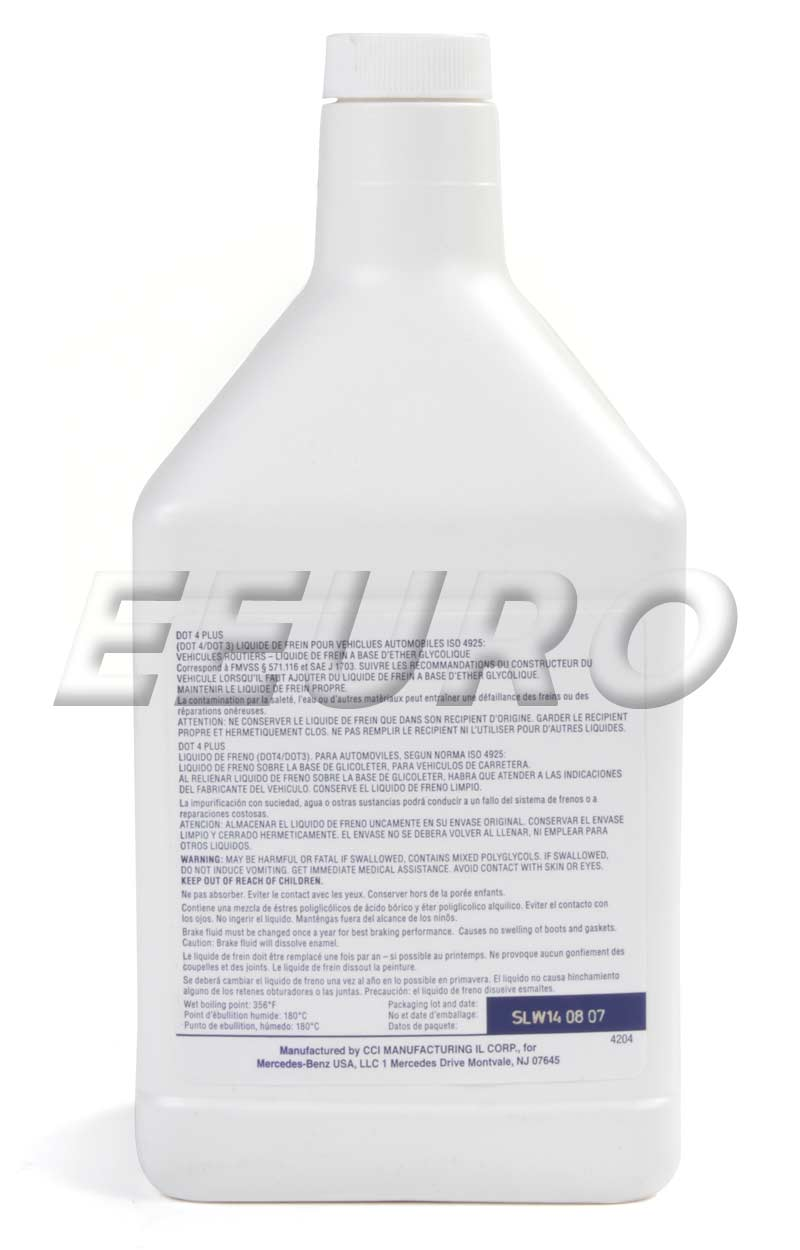 genuine mercedes brake fluid dot 4 plus 1 liter. Black Bedroom Furniture Sets. Home Design Ideas