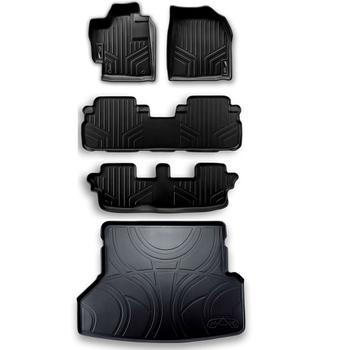 Floor Mat Set - Front Rear Third Row and Cargo Area (All-Weather) (Black) 3811510KIT Main Image