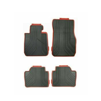 Floor Mat Set - Front and Rear (All Weather) (Rubber) (Black-Red) (Sport Line) 4155559KIT Main Image