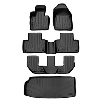 Floor Mat Set - Front Rear Third Row and Cargo Area (All-Weather) (Black) 3811008KIT Main Image