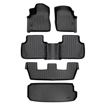 Floor Mat Set - Front Rear Third Row and Cargo Area (All-Weather) (Black) 3811415KIT Main Image