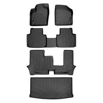 Floor Mat Set - Front Rear Third Row and Cargo Area (All-Weather) (Black) 3811212KIT Main Image
