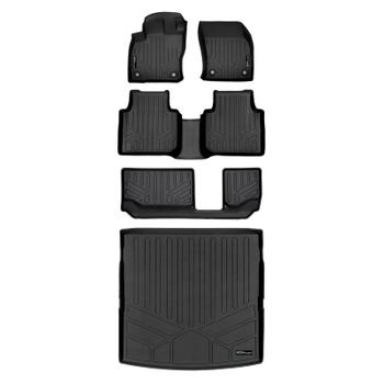 Floor Mat Set - Front Rear Third Row and Cargo Area (All-Weather) (Black) 3811171KIT Main Image