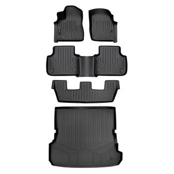 Floor Mat Set - Front Rear Third Row and Cargo Area (All-Weather) (Black) 3811414KIT Main Image