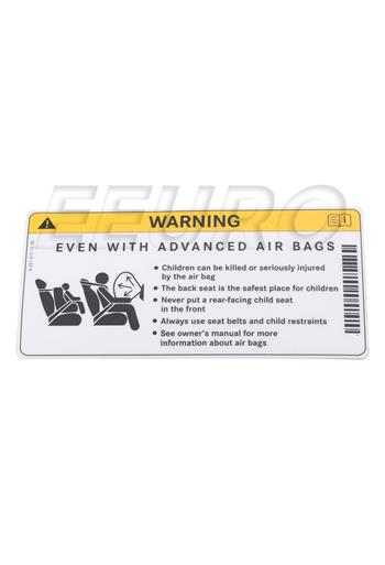 Sun Visor Air Bag Warning Label 2218171220 Main Image
