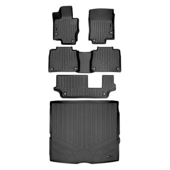 Floor Mat Set - Front Rear Third Row and Cargo Area (All-Weather) (Black) 3811593KIT Main Image