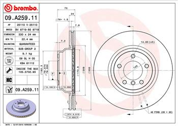 GENUINE BREMBO INTERNALLY VENTED FRONT BRAKE DISCS 09.A259.11 Ø 330 mm