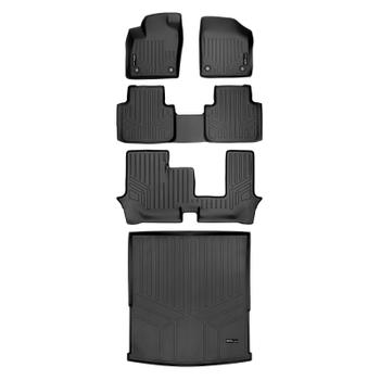 Floor Mat Set - Front Rear Third Row and Cargo Area (All-Weather) (Black) 3811211KIT Main Image